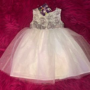 Girls formal dress white and silver